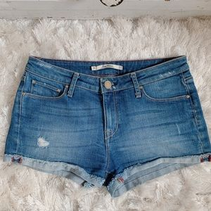 Zara Medium Rinse Denim Cuffed Shorts